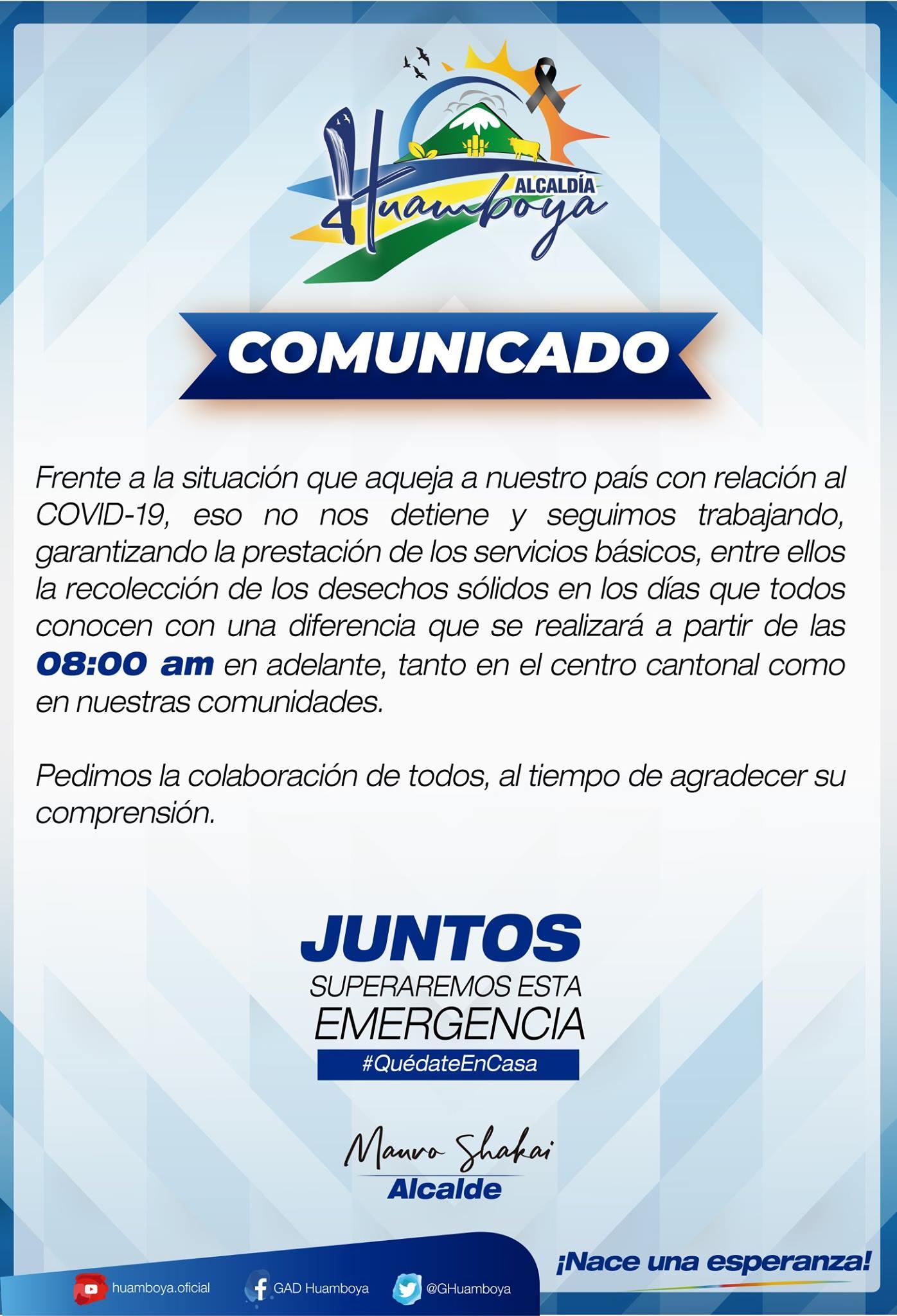 ALCALDÍA DE HUAMBOYA INFORMA HORARIO DE RECOLECCION DE BASURA